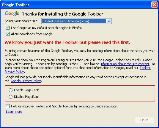Google toolbar to use in Busby SEO Challenge