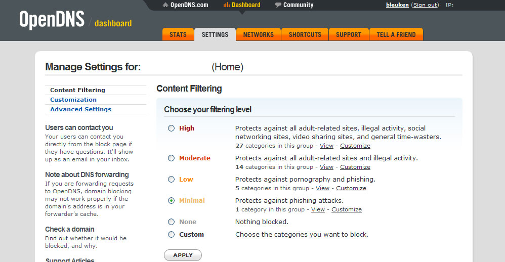 openDNS Web Filtering