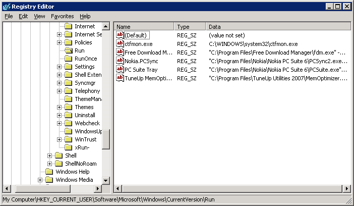 Click to enlarge Registry Editor