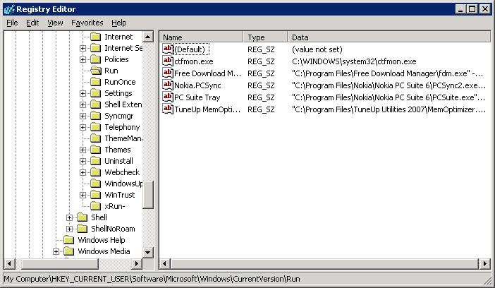 Click to enlarge Registry Editor