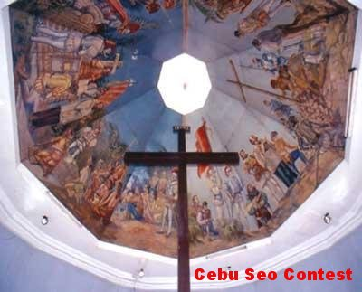 Cebu Seo Contest: Ferdinand Magellan's commemorative cross in a church on Cebu marks his arrival in the Philippines in 1521