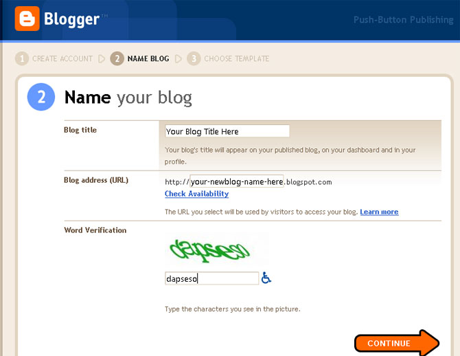 Sign Up an Account in Blogger