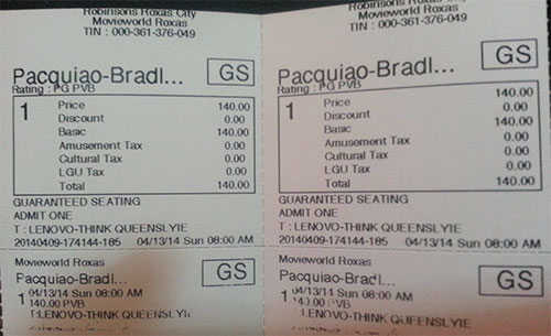 Pacquiao vs Bradley Ticket