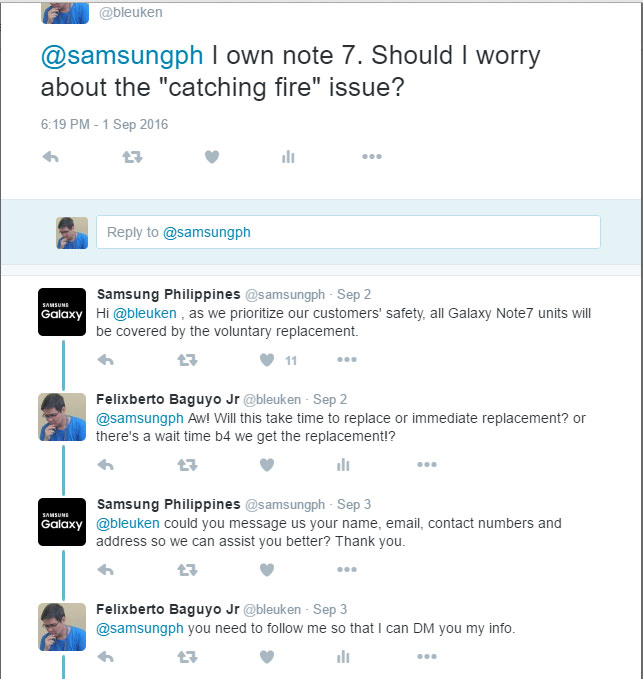 SamsungPH's reply w/ my Twit About Samsung Galaxy Note 7